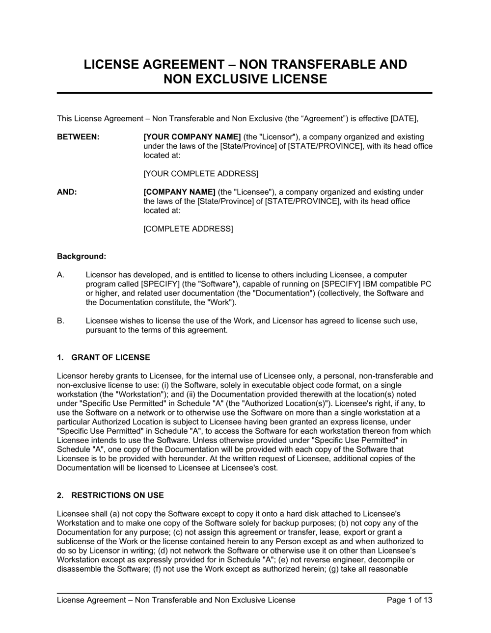 Business-in-a-Box's License Agreement NonTransferable and Non Exclusive License Template