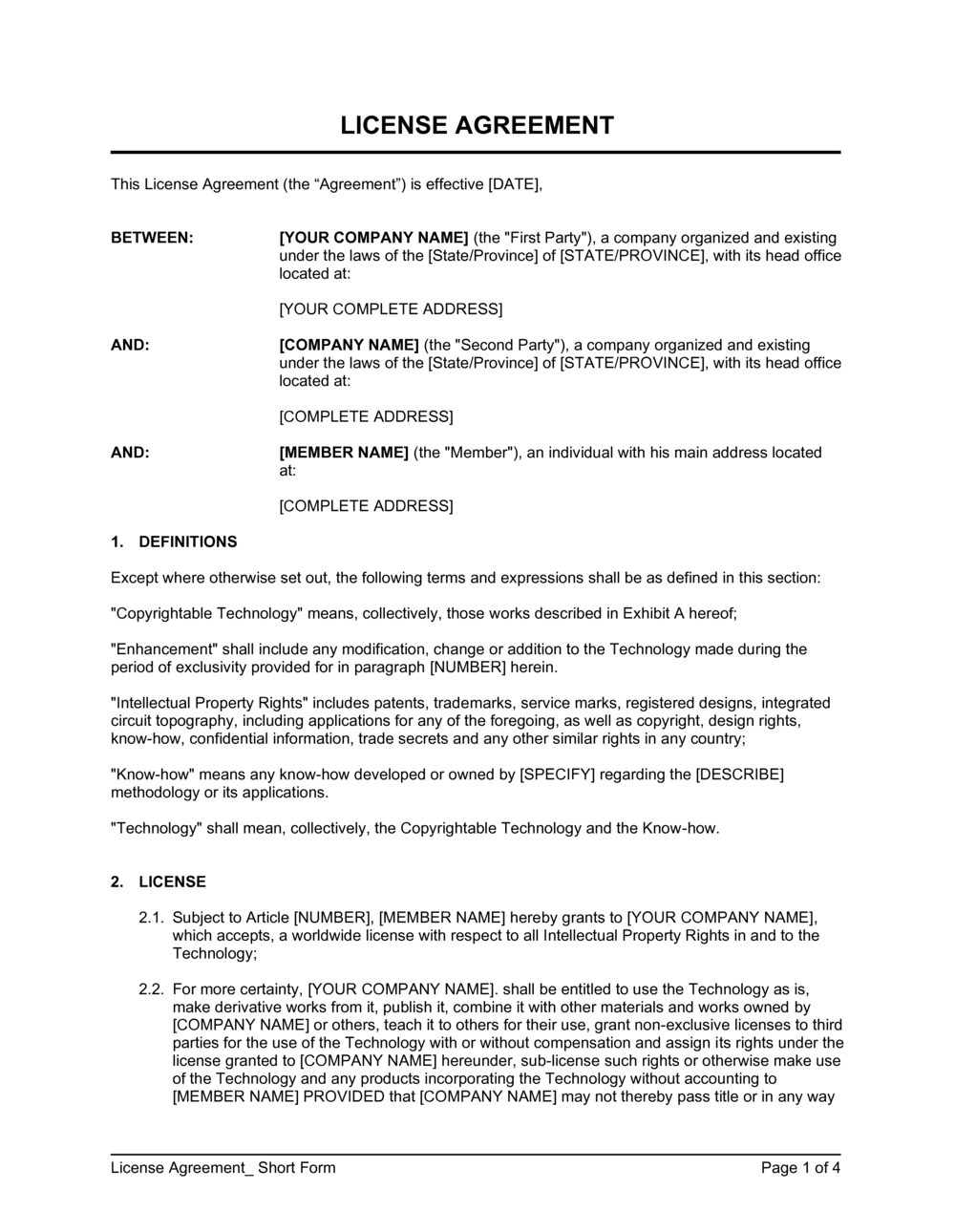 Business-in-a-Box's License Agreement Short Form Template
