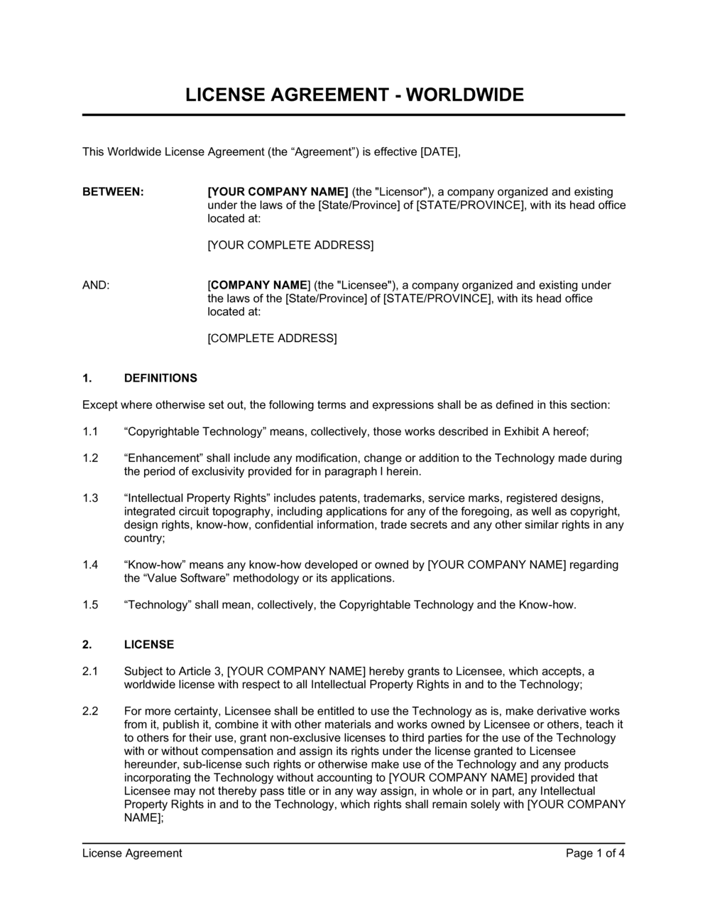 Business-in-a-Box's License Agreement Worldwide License Template