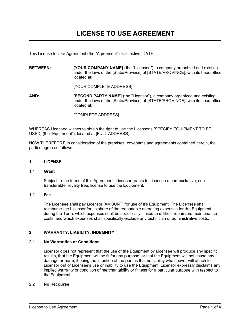 Business-in-a-Box's License to Use Agreement Template
