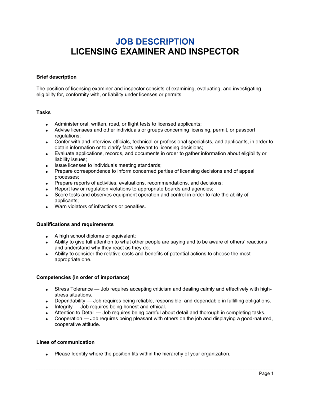 Business-in-a-Box's Licensing Examiner and Inspector Job Description Template