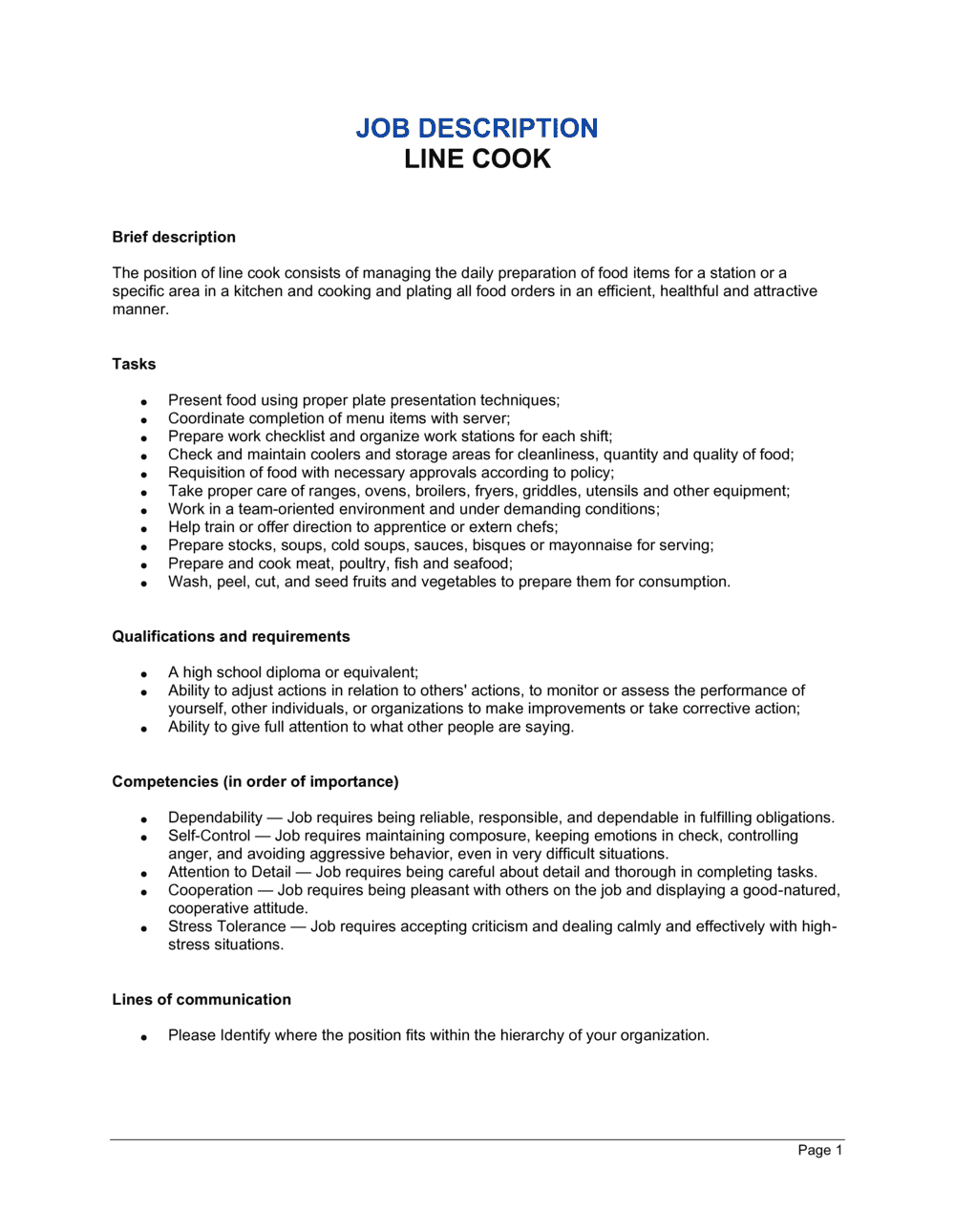 Business-in-a-Box's Line Cook Job Description Template