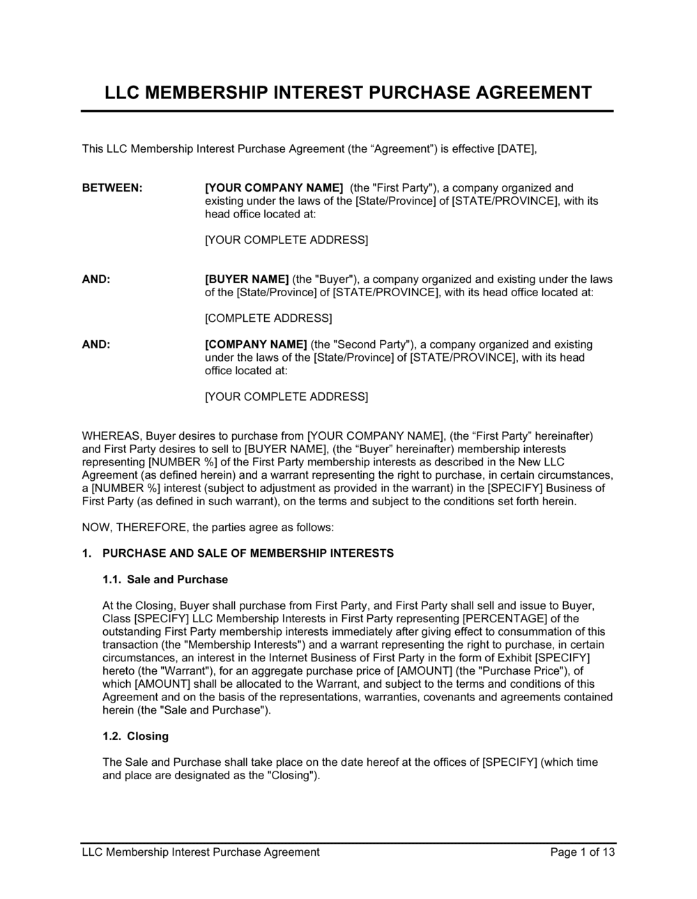 Business-in-a-Box's LLC Membership Interest Purchase Agreement Template
