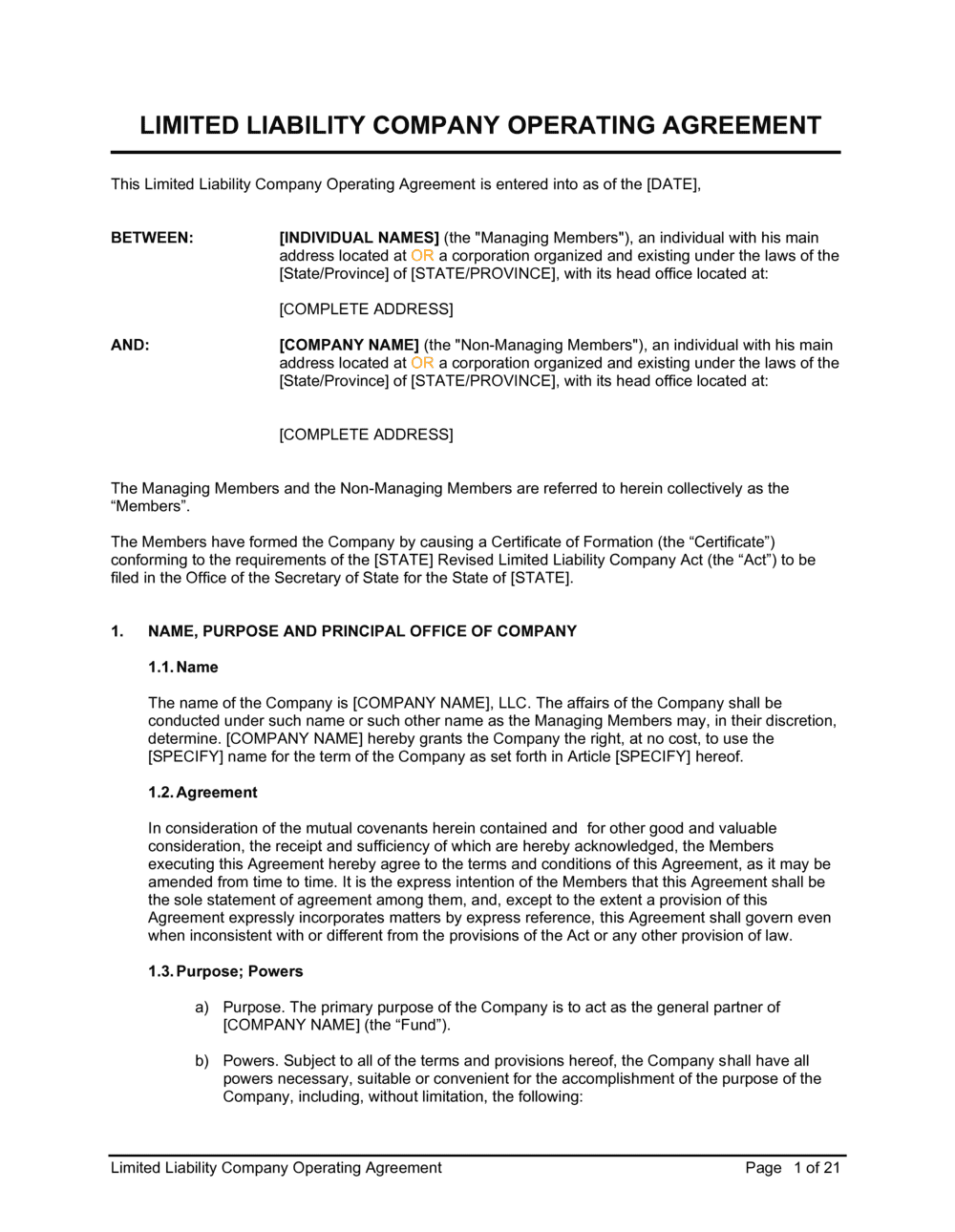 Business-in-a-Box's LLC Operating Agreement Template
