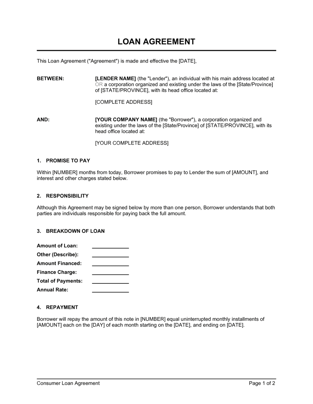 Business-in-a-Box's Loan Agreement Template