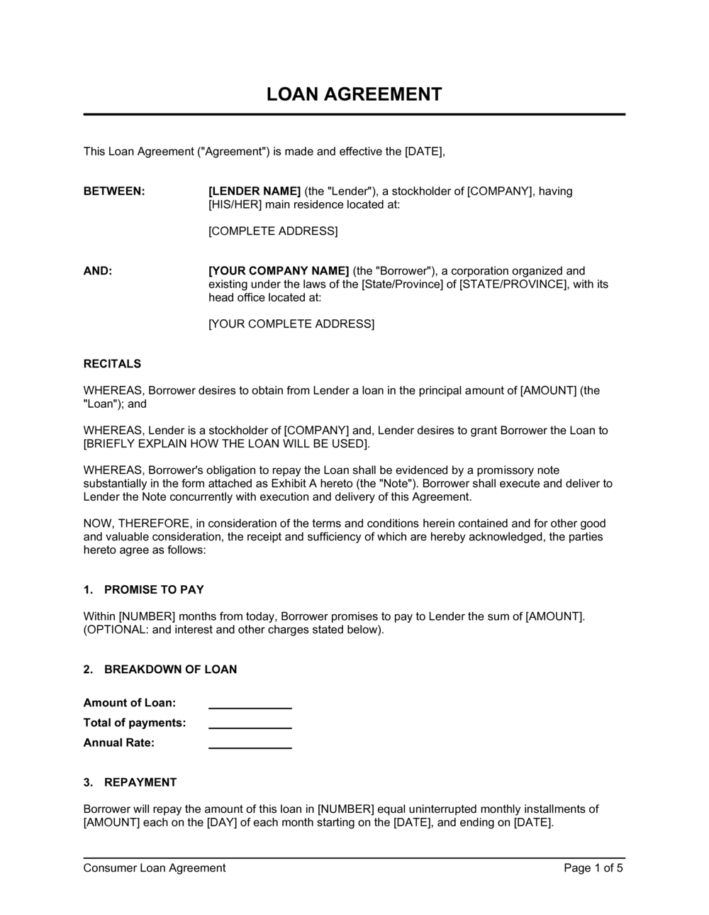 Loan Agreement Stockholder To Corporation Template By Business In A Box
