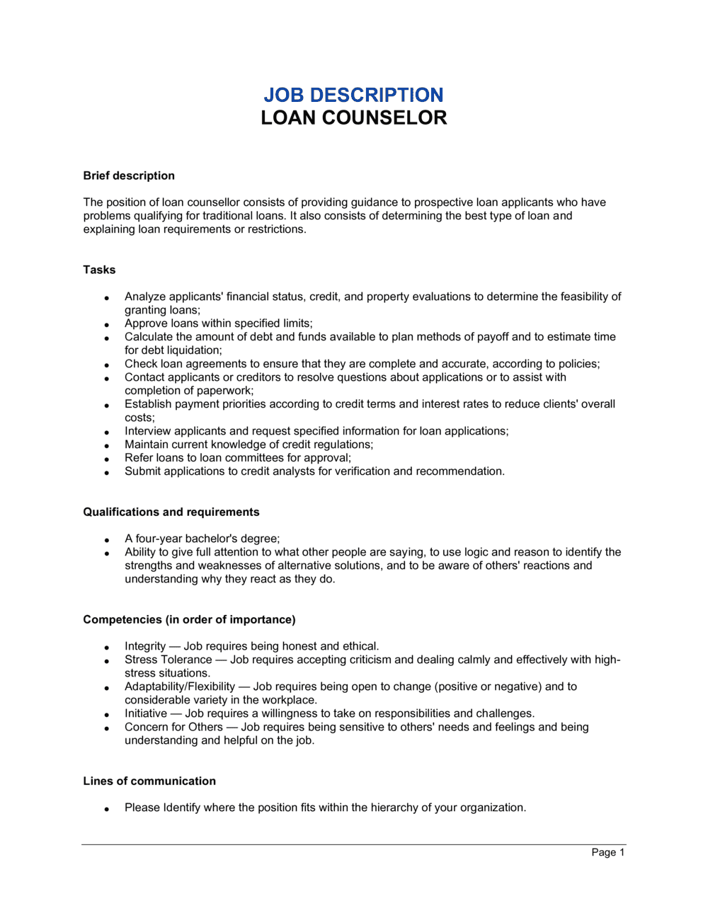 Business-in-a-Box's Loan Counselor Job Description Template