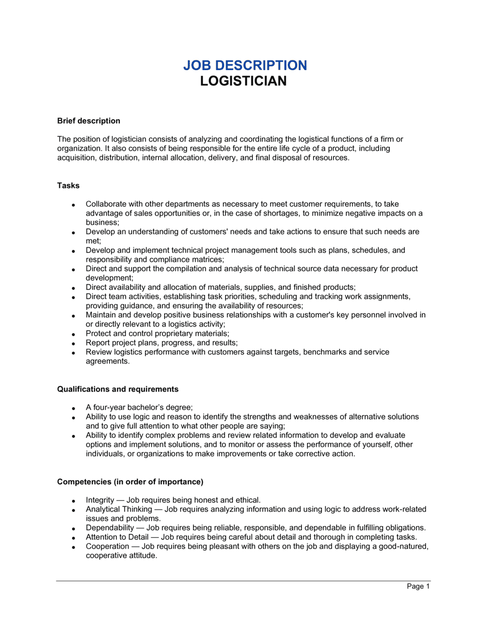 Business-in-a-Box's Logistician Job Description Template