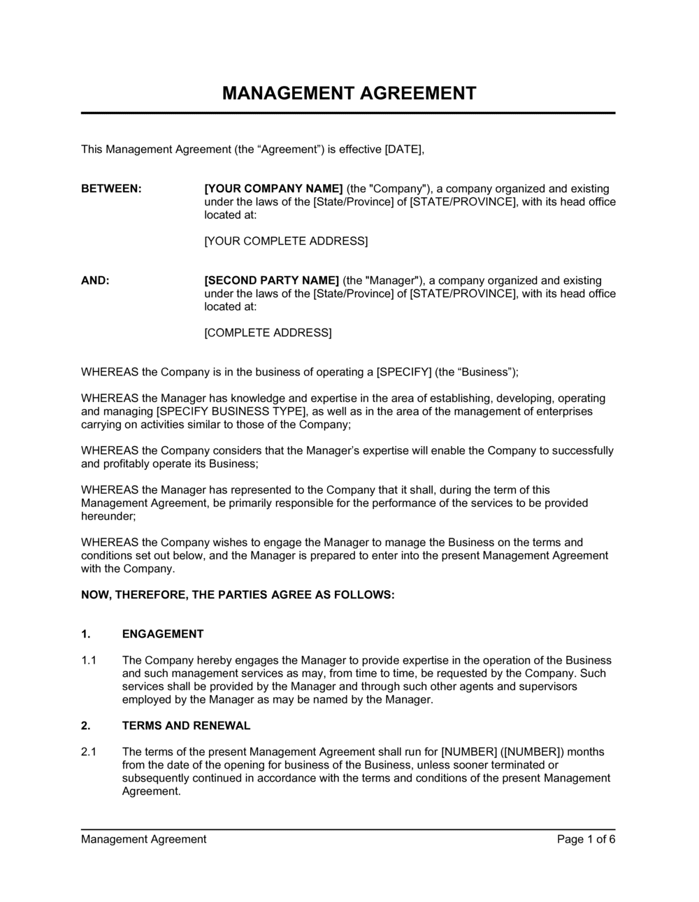 Business-in-a-Box's Management Agreement Template