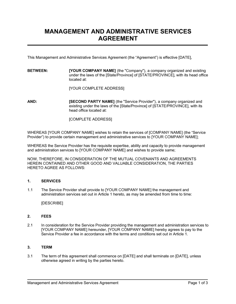 Management And Administrative Services Agreement Template By