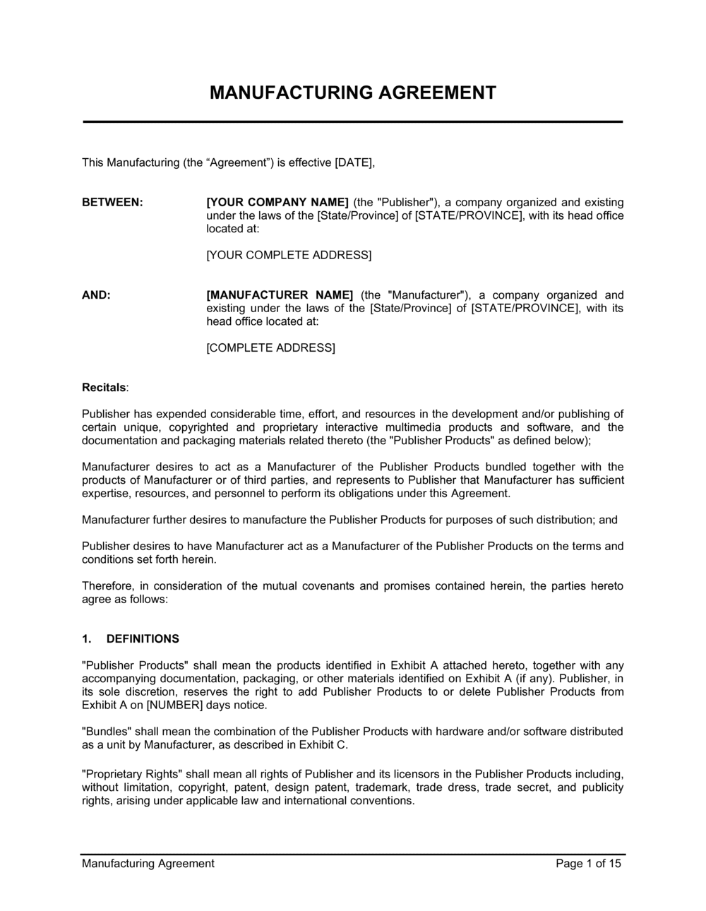Business-in-a-Box's Manufacturing Agreement Template