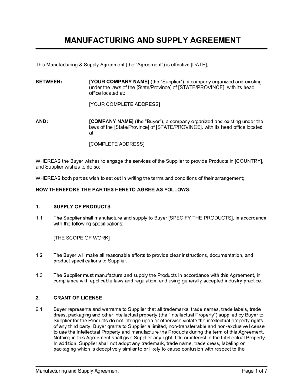 Business-in-a-Box's Manufacturing and Supply Agreement Template