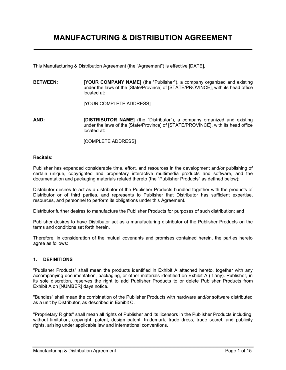 Contract Manufacturing Agreement Template from templates.business-in-a-box.com