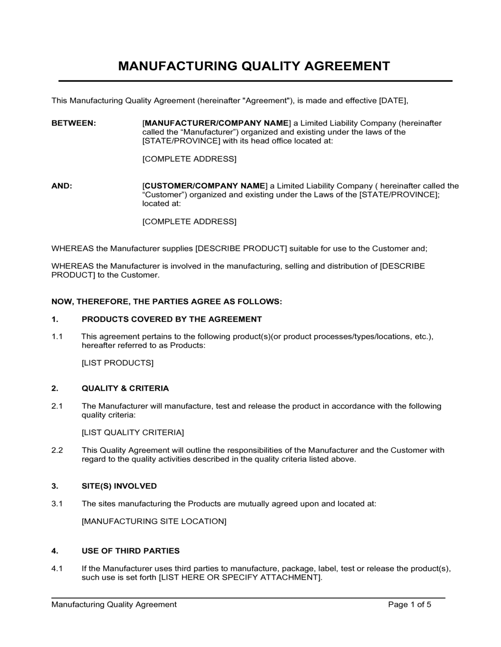 Business-in-a-Box's Manufacturing Quality Agreement Template