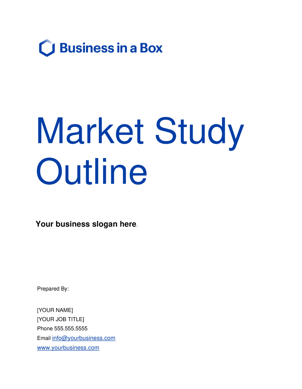 Business-in-a-Box's Market Study Outline Template
