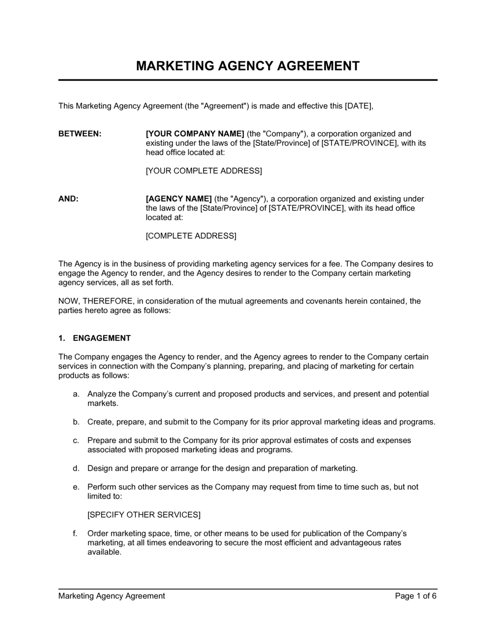 Business-in-a-Box's Marketing Agency Agreement Template