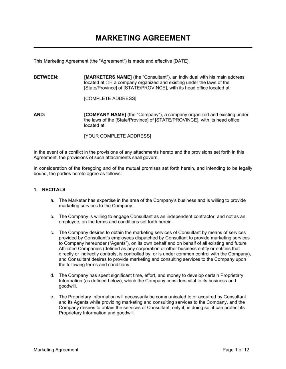 Business-in-a-Box's Marketing Agreement Template