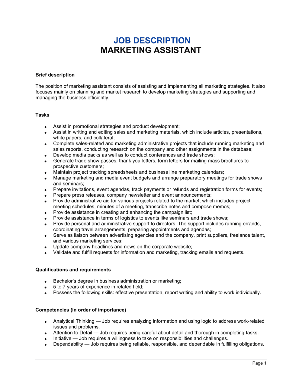 Business-in-a-Box's Marketing Assistant Job Description Template
