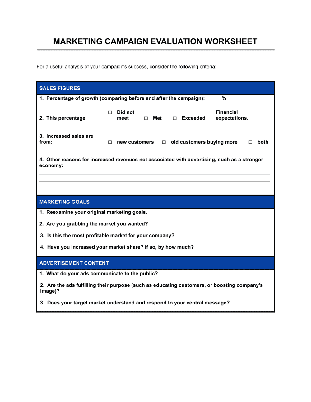 Business-in-a-Box's Marketing Campaign Evaluation Template