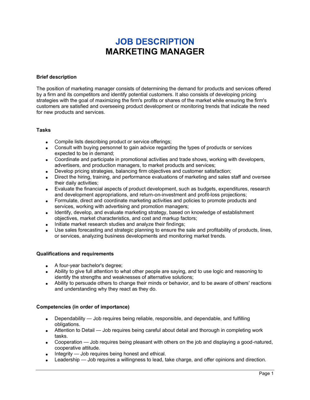 Business-in-a-Box's Marketing Manager Job Description Template