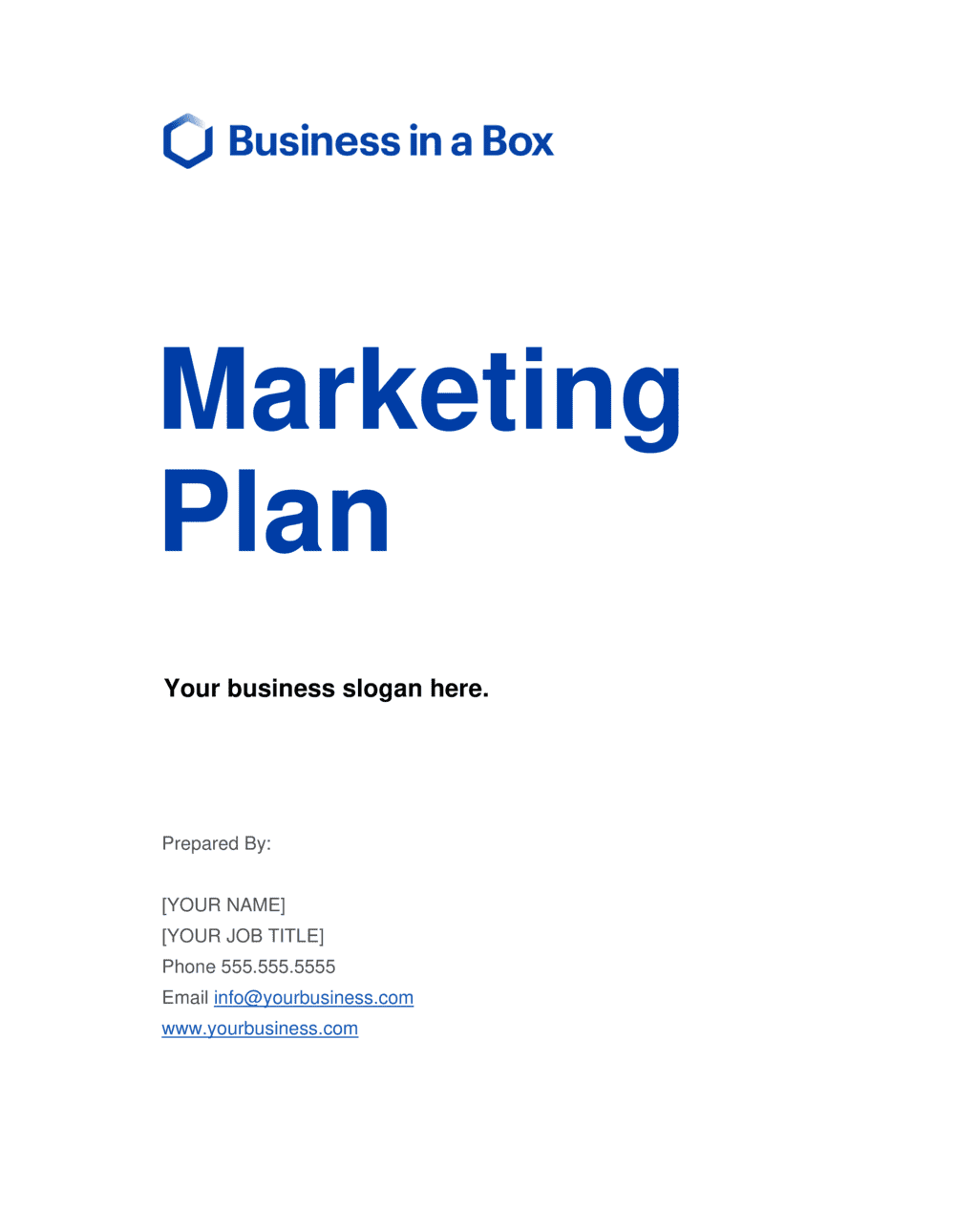 Business-in-a-Box's Marketing Plan Template