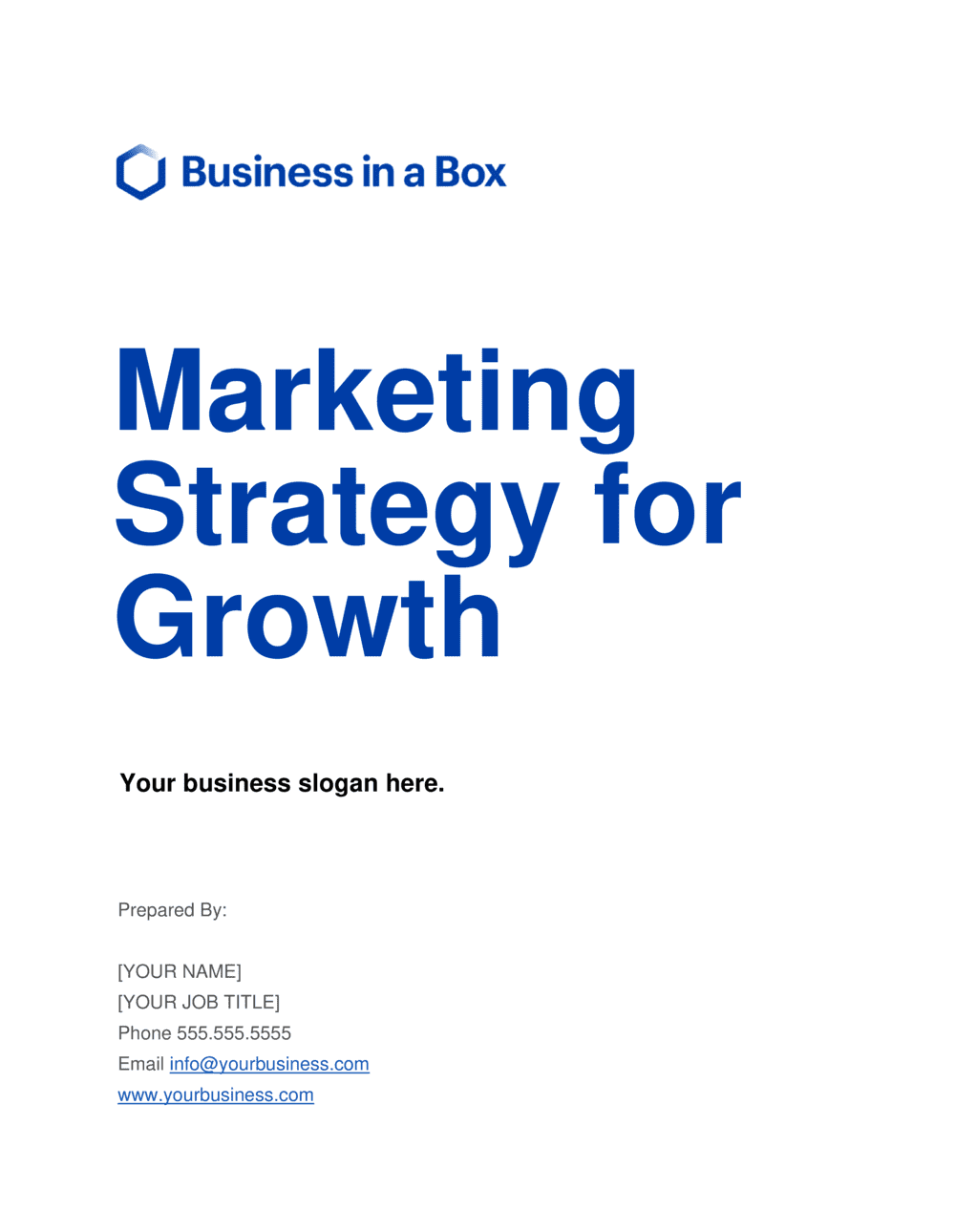 Business-in-a-Box's Marketing Strategy For Growth Template