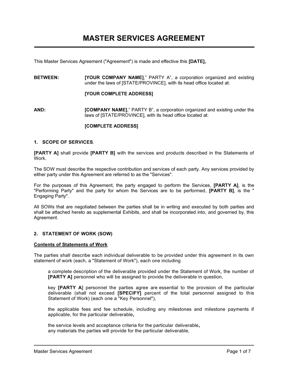 Business-in-a-Box's Master Services Agreement Template