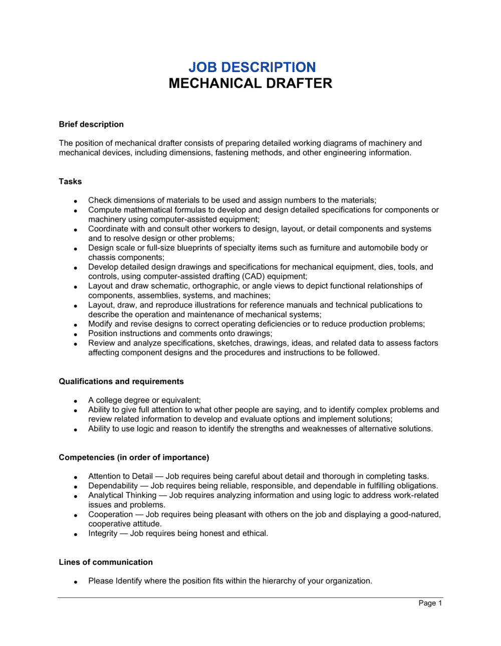 Business-in-a-Box's Mechanical Drafter Job Description Template