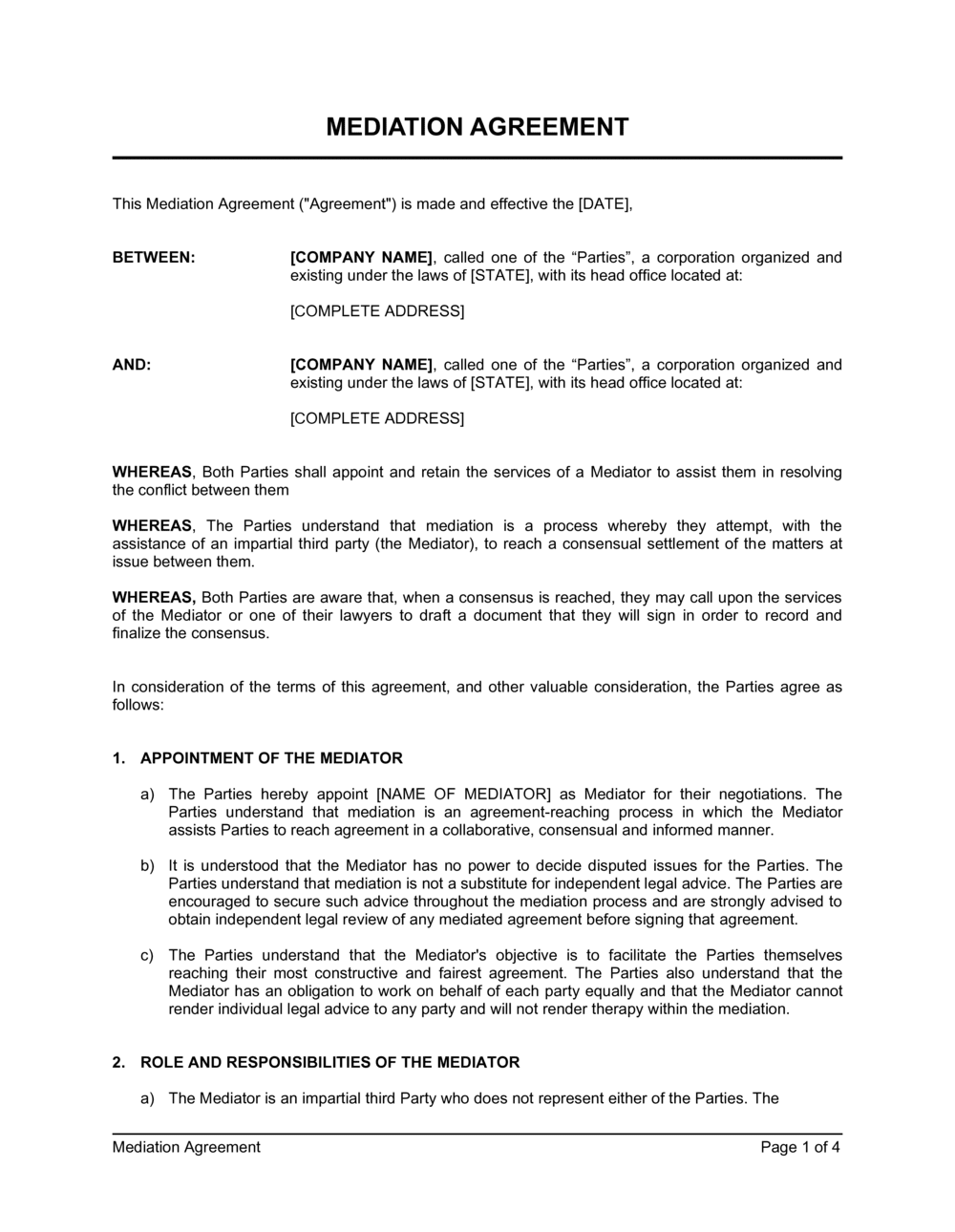 Business-in-a-Box's Mediation Agreement Template