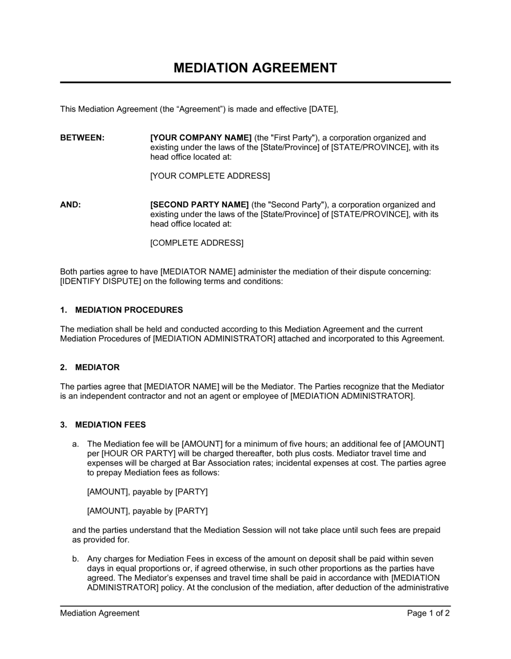 Business-in-a-Box's Mediation Agreement Short Template