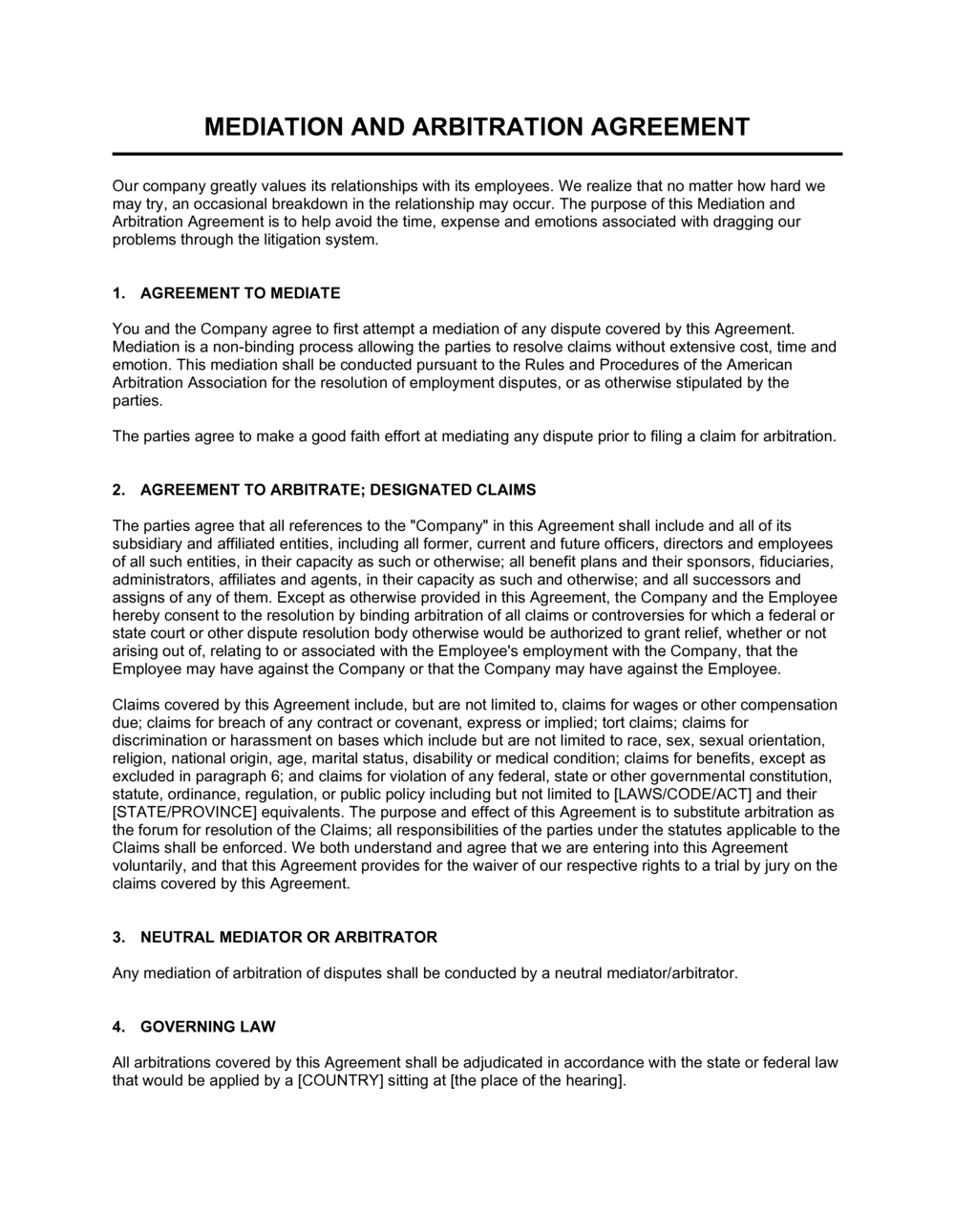 Business-in-a-Box's Mediation and Arbitration Agreement Template