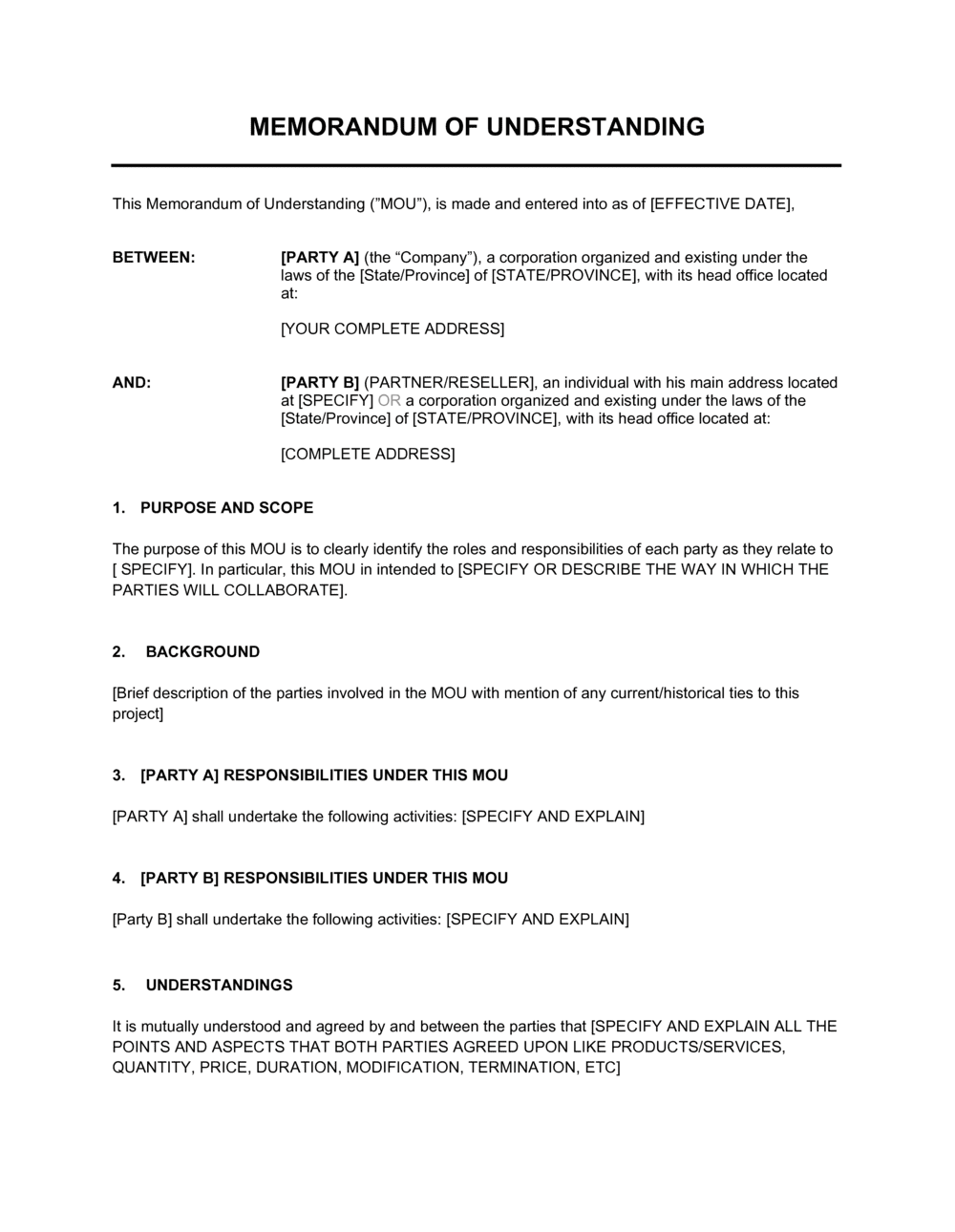 Business-in-a-Box's Memorandum of Understanding Template
