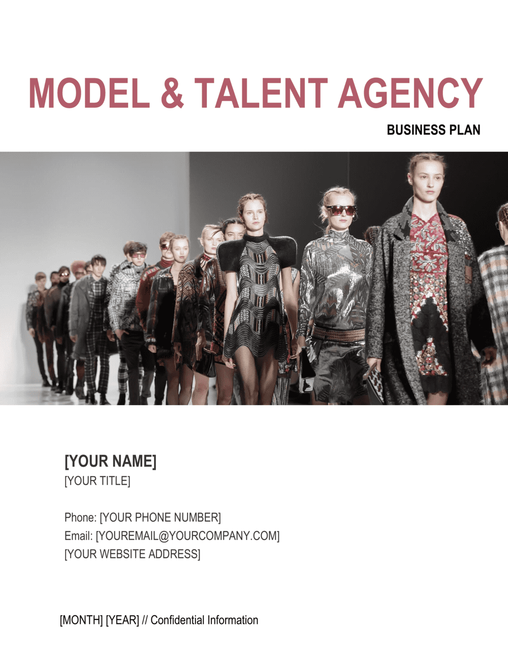 Business-in-a-Box's Model and Talent Agency Business Plan Template