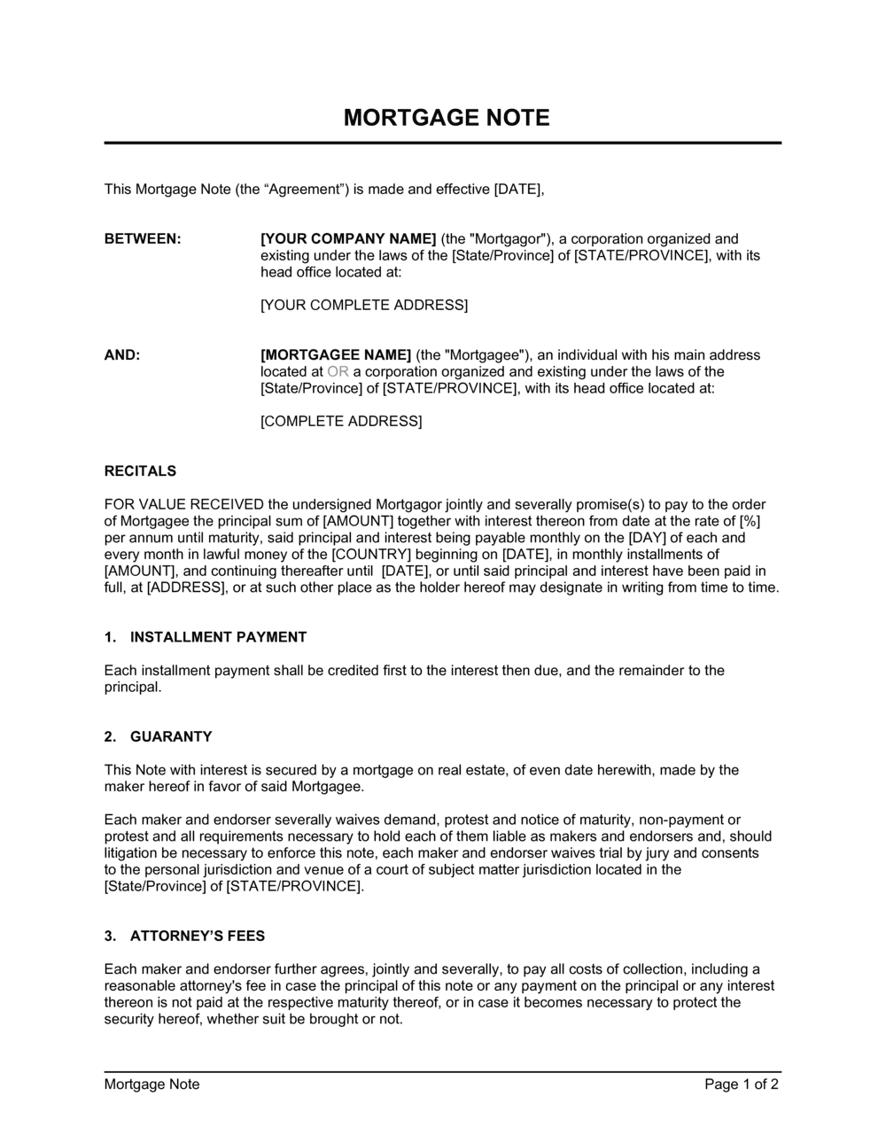 Business-in-a-Box's Mortgage Note Template