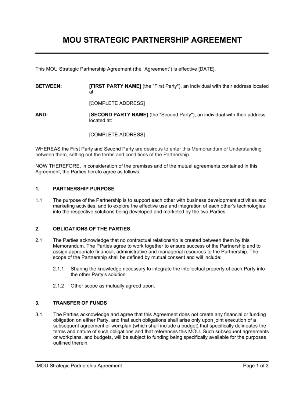 Business-in-a-Box's MOU Strategic Partnership Agreement Template