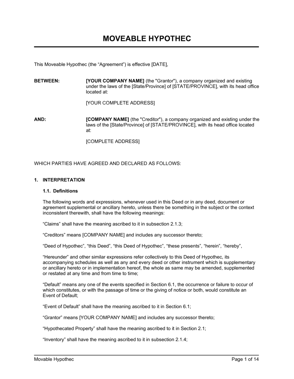 Business-in-a-Box's Movable Hypothec Long Form Template