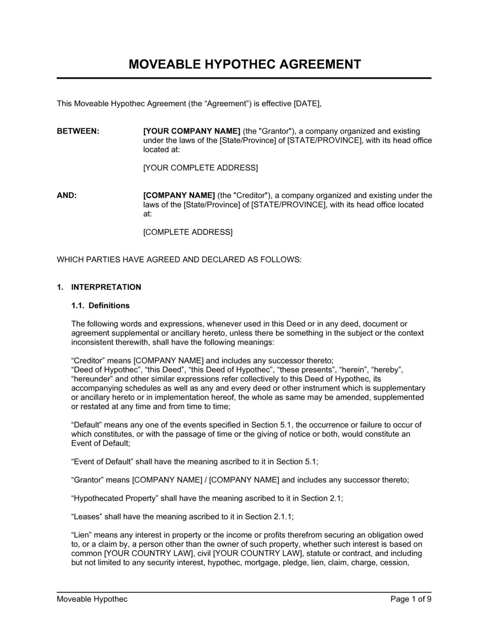 Business-in-a-Box's Moveable Hypothec Agreement Template