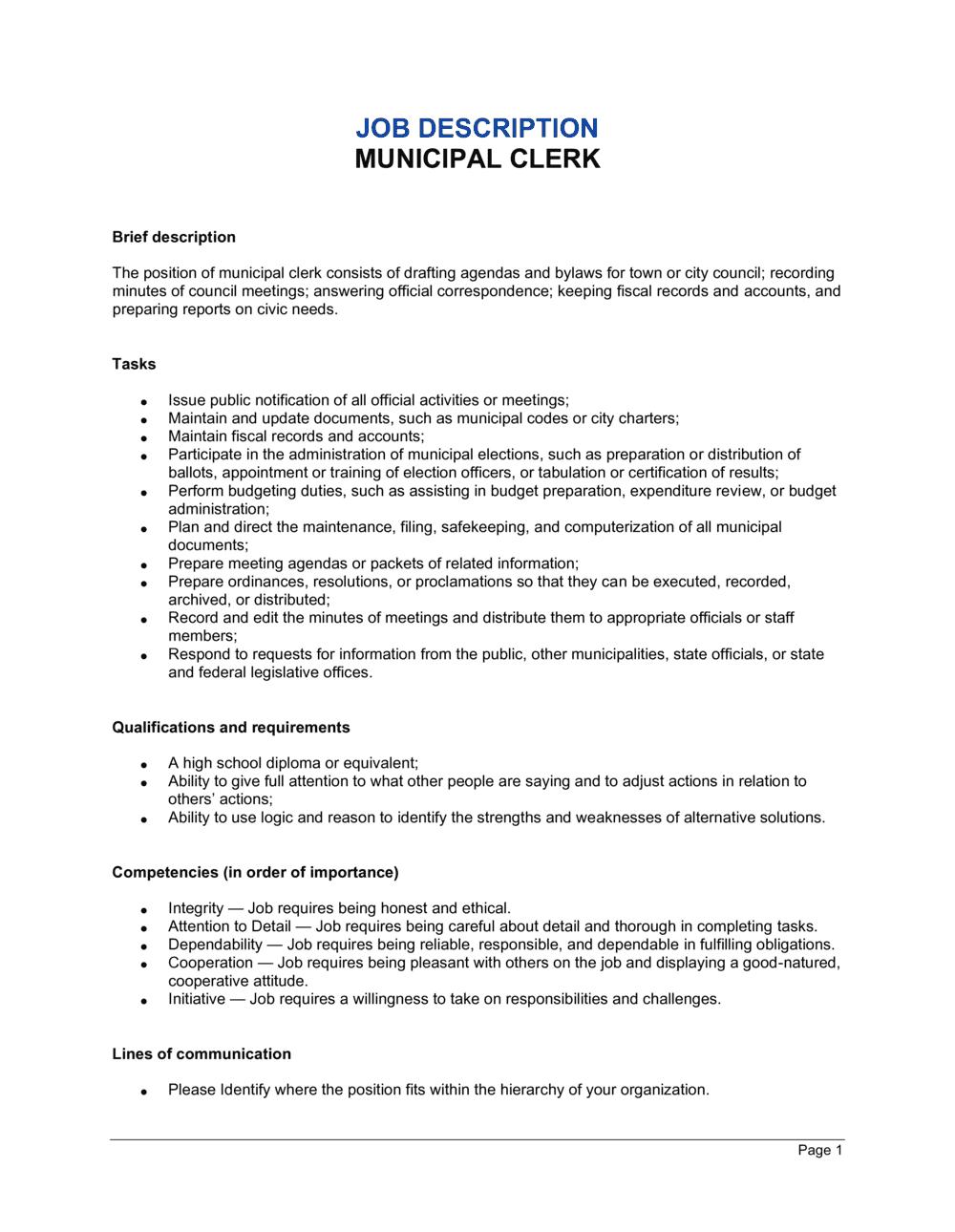 Business-in-a-Box's Municipal Clerk Job Description Template