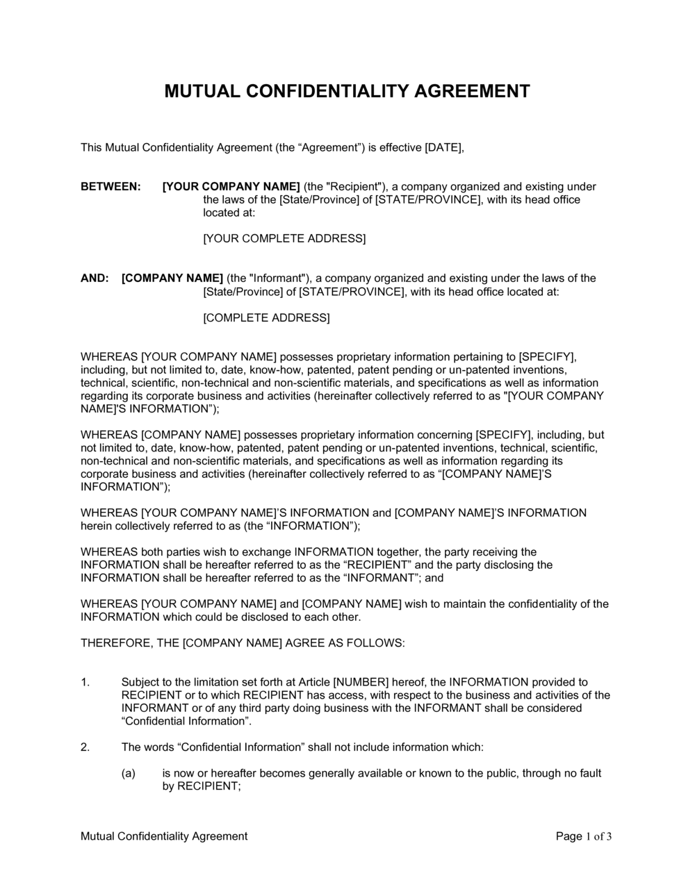 Business-in-a-Box's Mutual Confidentiality Agreement Template