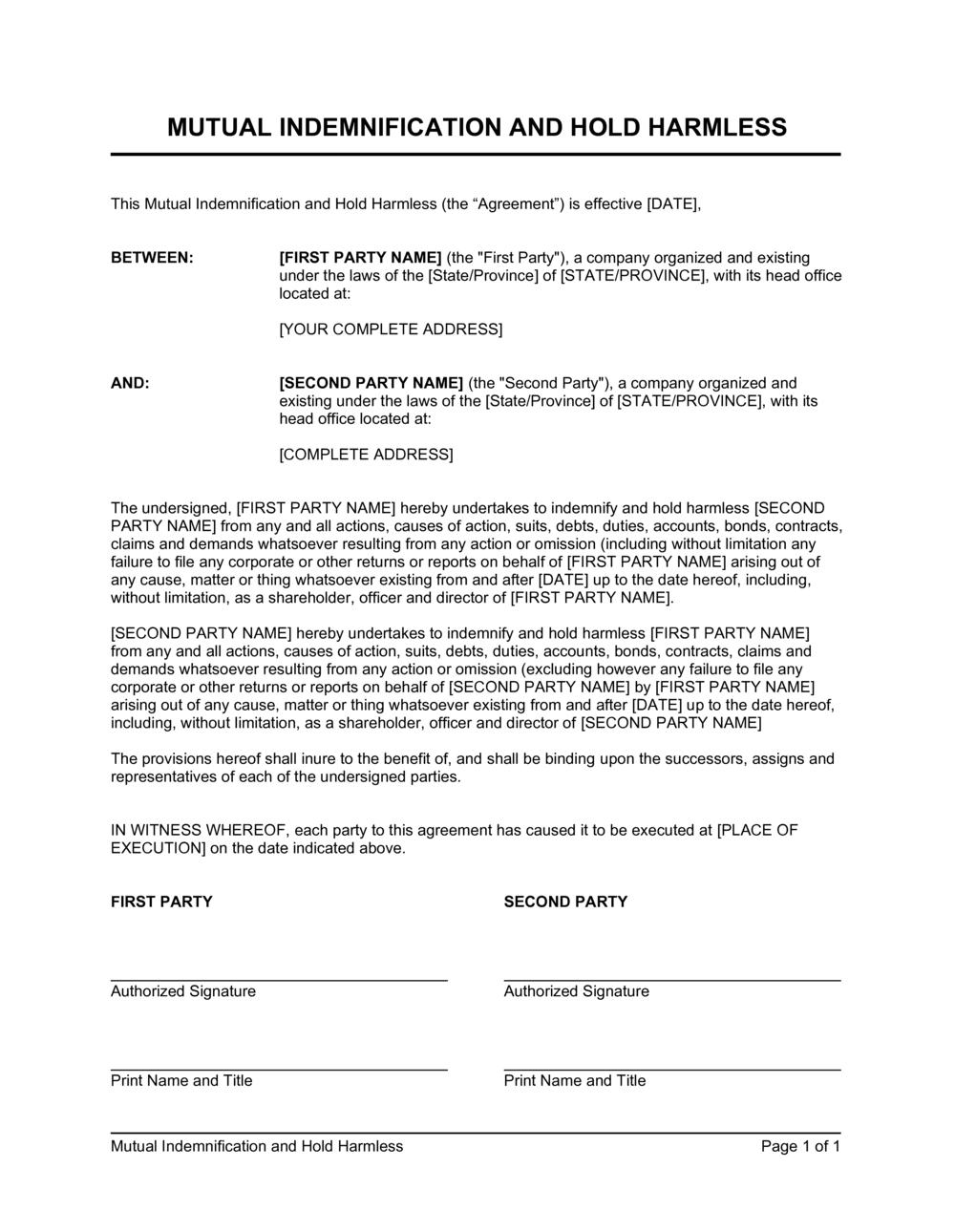 Business-in-a-Box's Mutual Indemnification and Hold Harmless Agreement Template