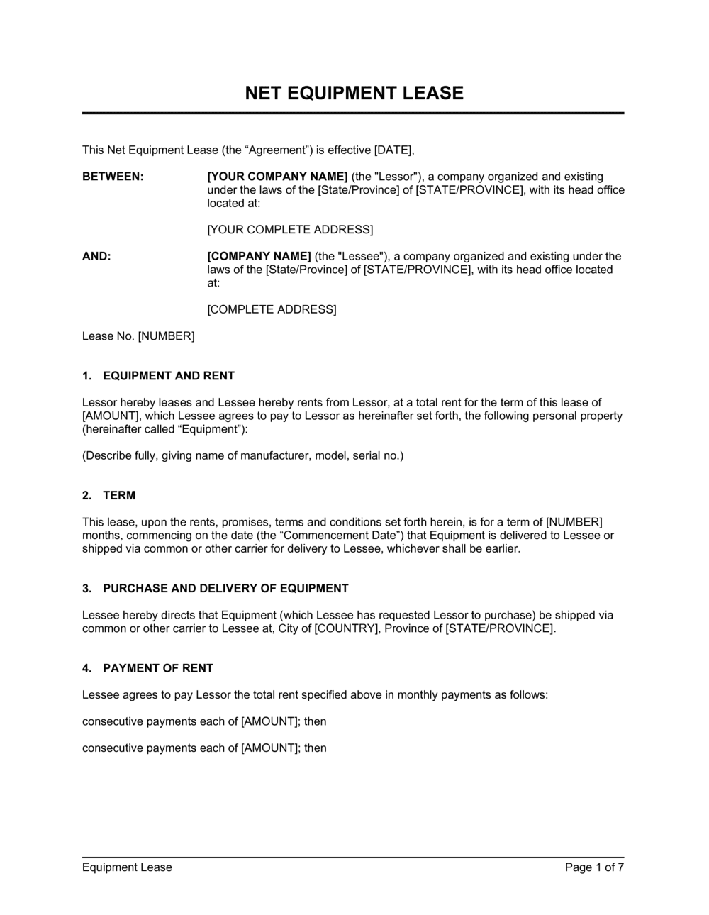 Business-in-a-Box's Net Equipment Lease 2 Template
