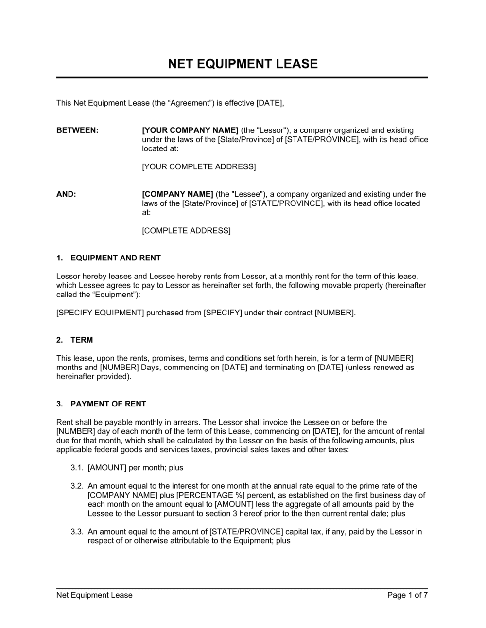 Business-in-a-Box's Net Equipment Lease Template
