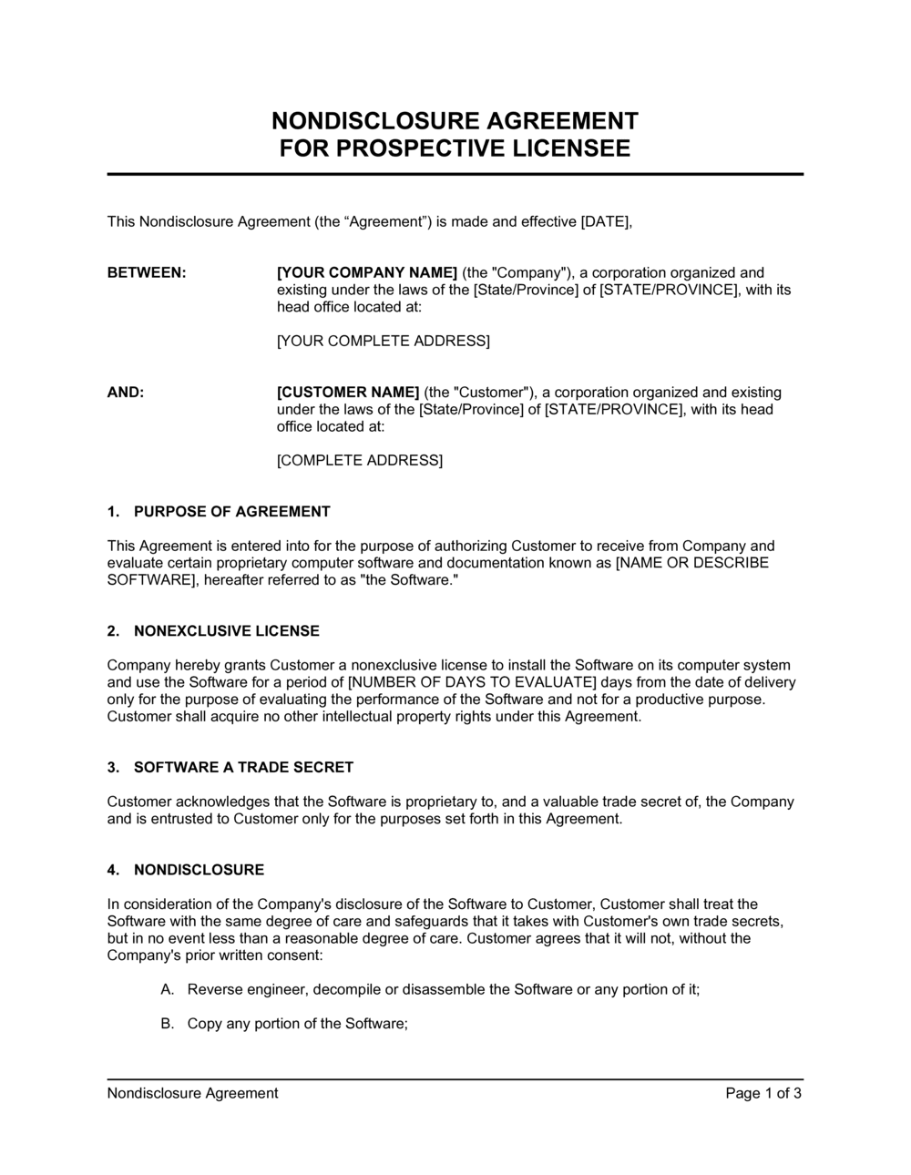 Business-in-a-Box's Non-Disclosure Agreement Prospective Licensee Template