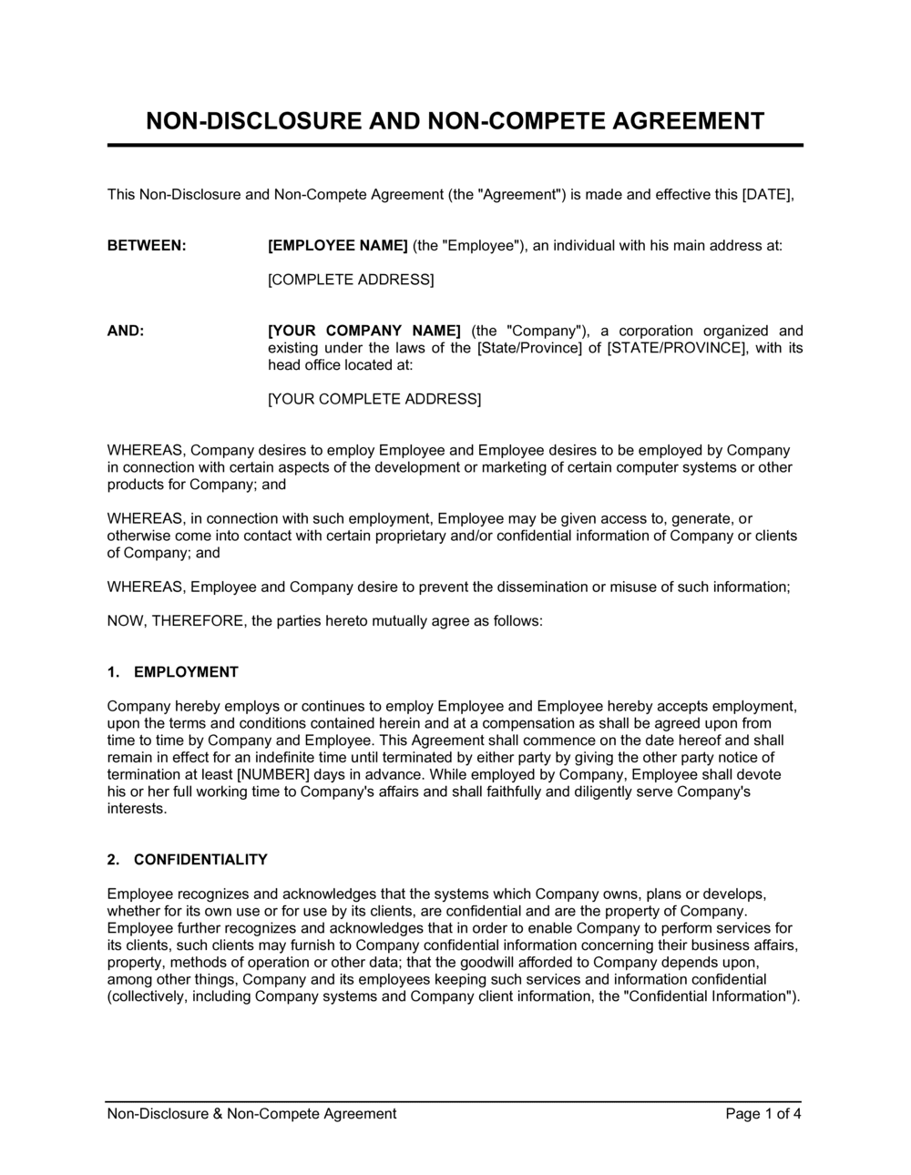 Employee Non Disclosure Agreement Template from templates.business-in-a-box.com
