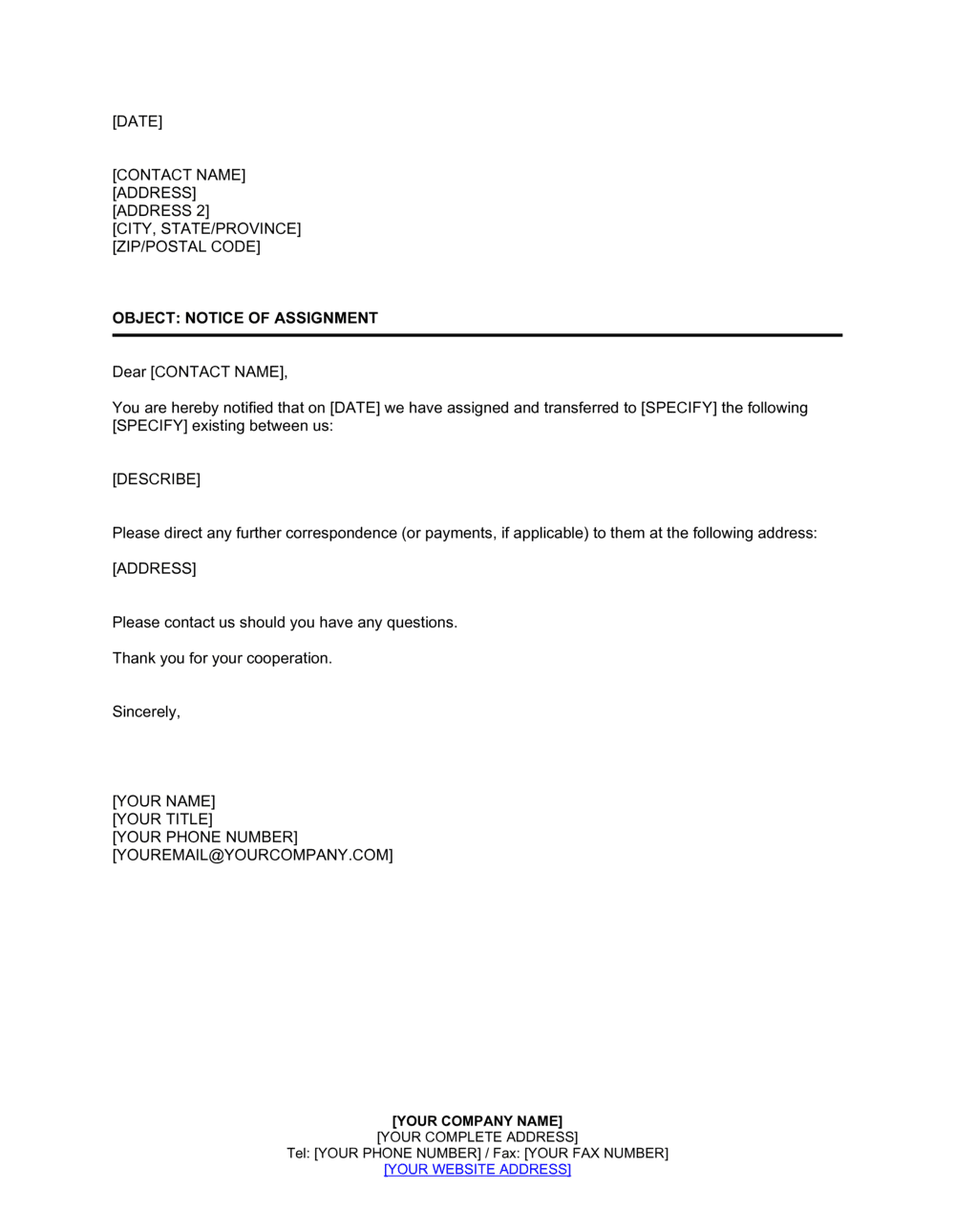 Business-in-a-Box's Notice of Assignment Template