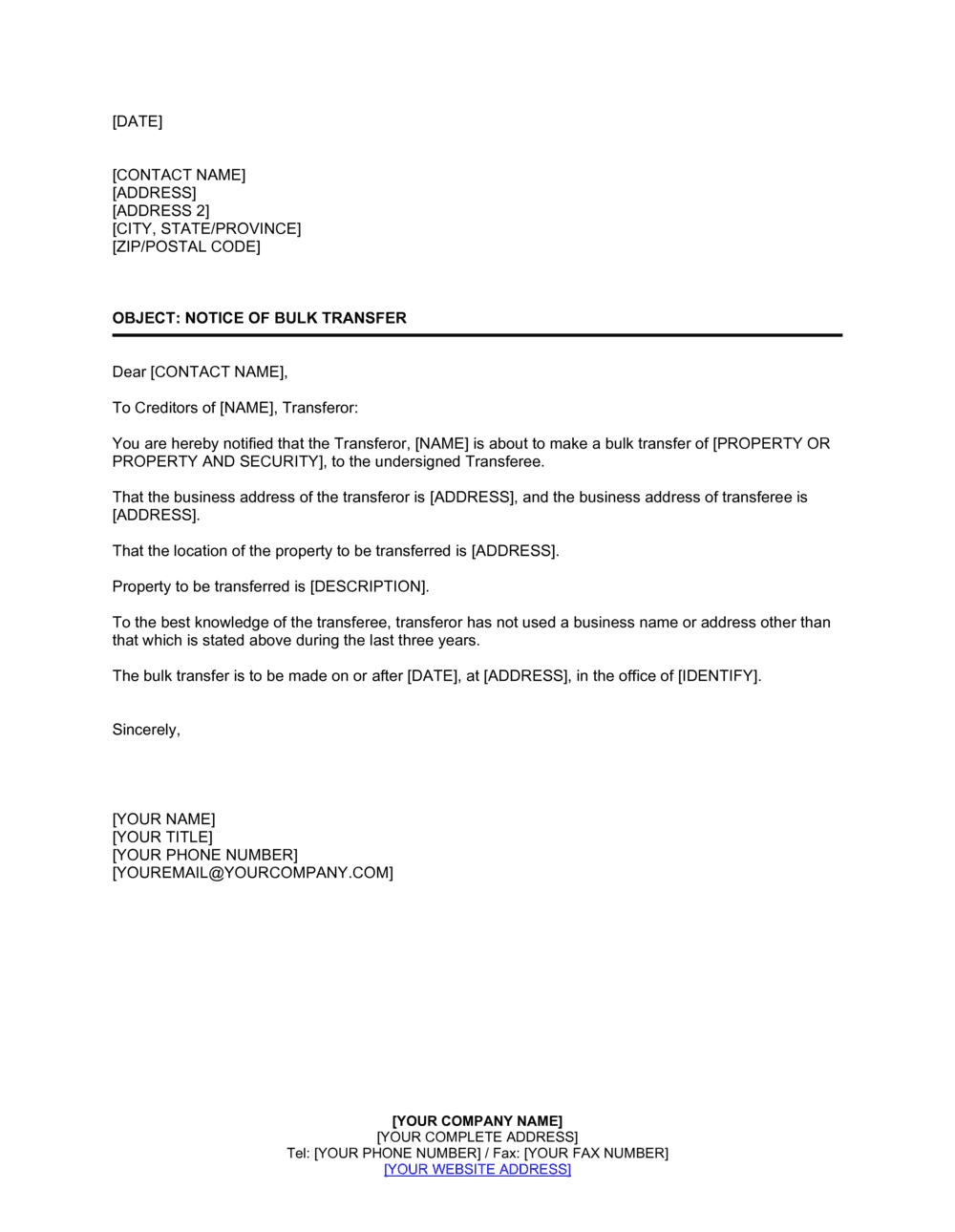 Business-in-a-Box's Notice of Bulk Transfer Template