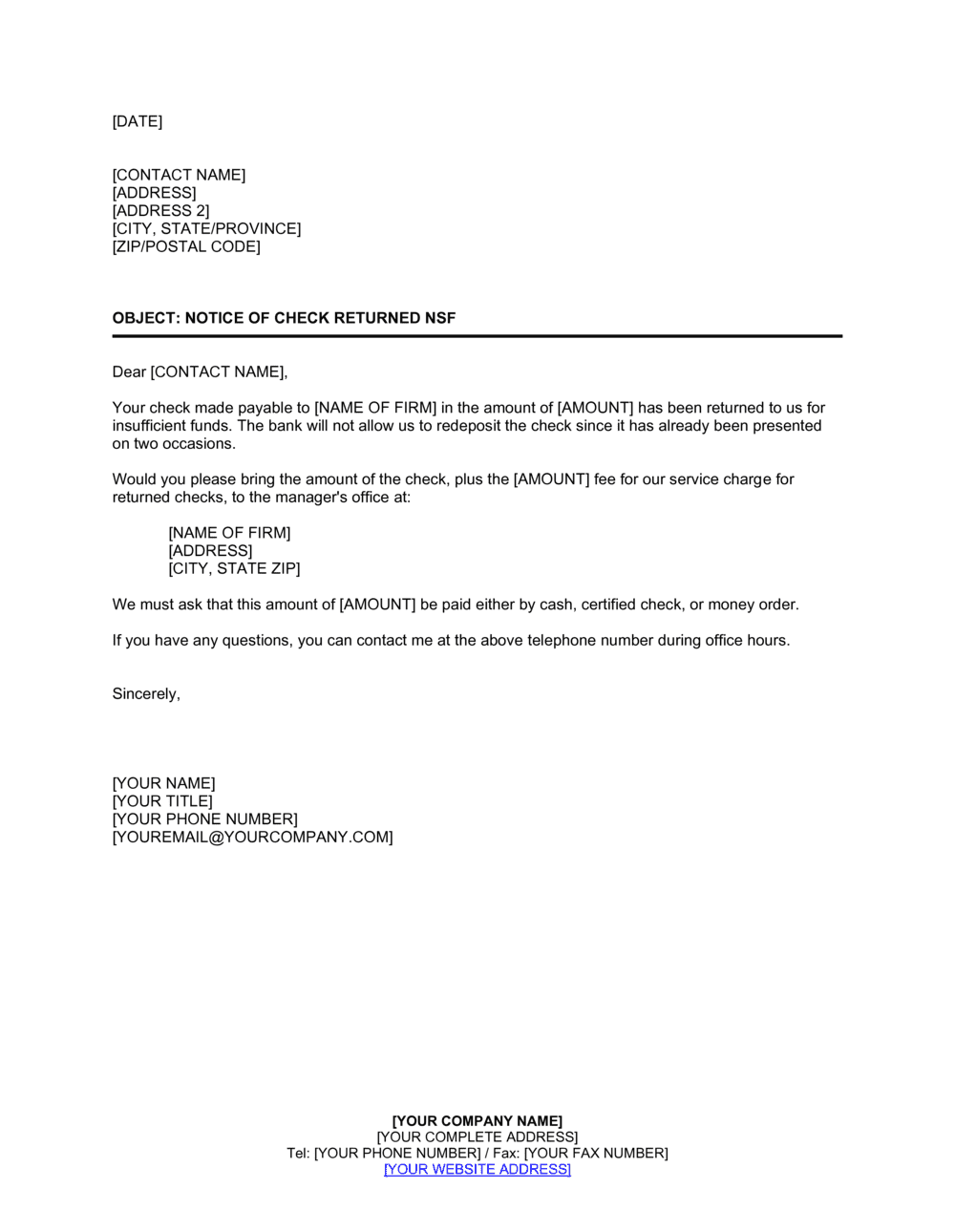 Business-in-a-Box's Notice of Check NSF 2 Template