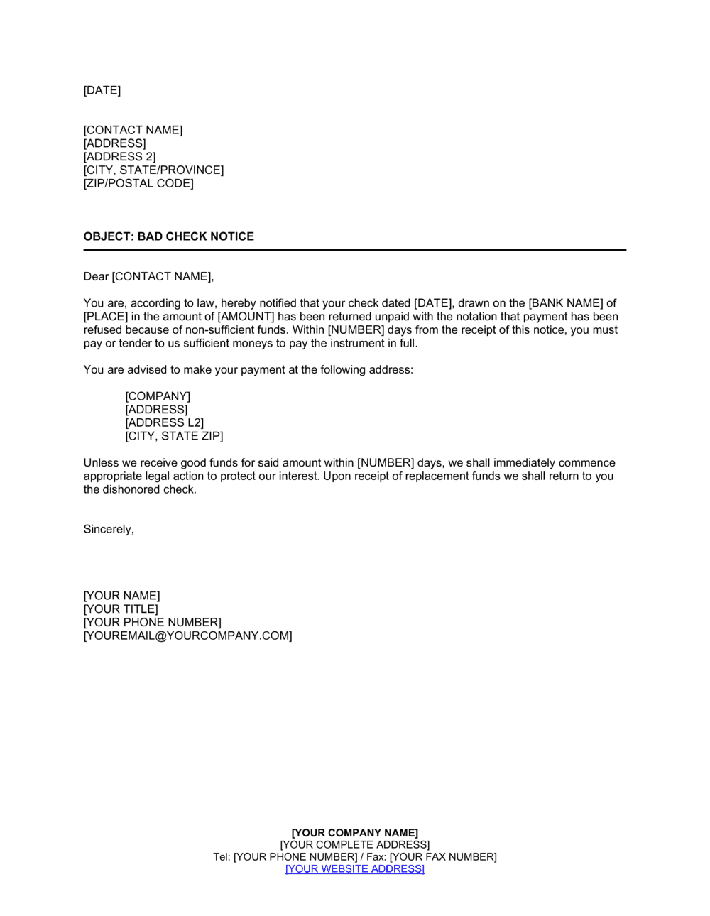 Business-in-a-Box's Notice of Check NSF Template