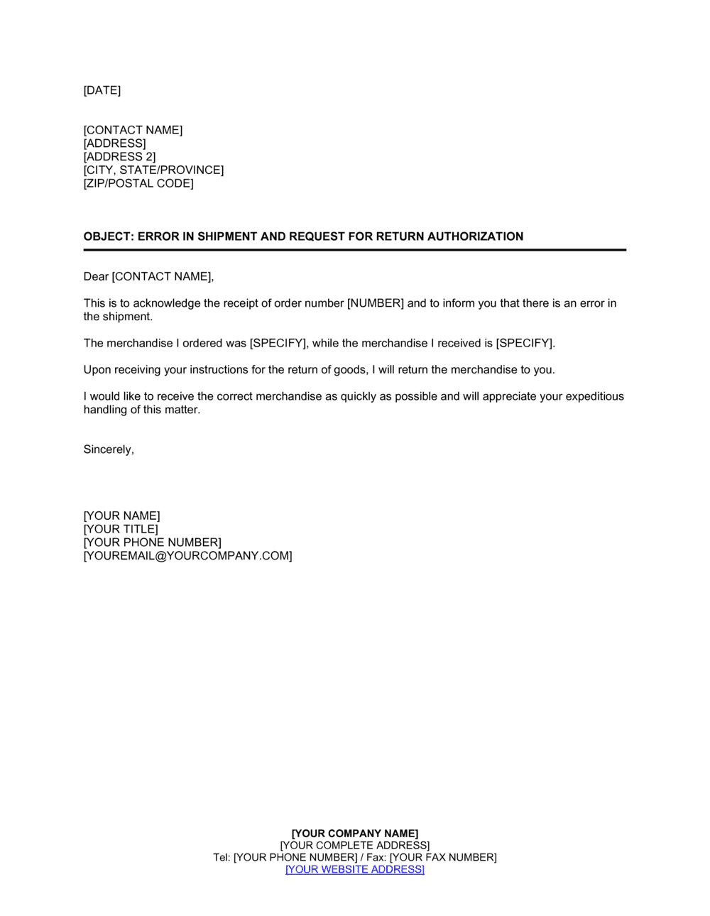 Business-in-a-Box's Notice of Error in Shipment and Request for Return Authorization Template