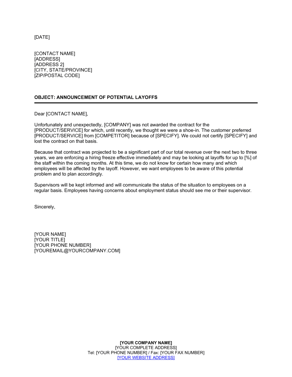 Business-in-a-Box's Notice of Layoff 1 Template